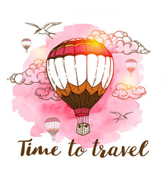 Travel background with air balloons vector