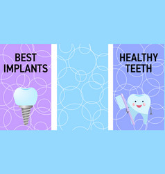 Vertical poster or banner dental best implants vector
