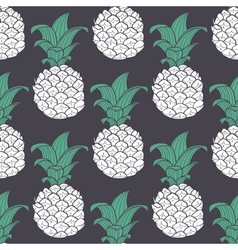 Violet geometric seamless pattern with pineapple vector