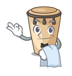 Waiter conga mascot cartoon style vector