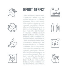 Website banner and landing page heart defect vector