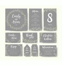 Wedding floral invite thank you menu card design vector