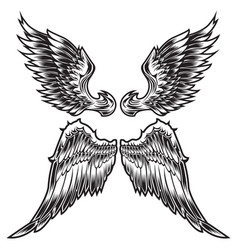 Wings bird feather black white tattoo set 4 vector