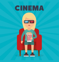 Woman eating pop corn and watching a movie 3d vector