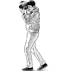 young man takes photo vector image