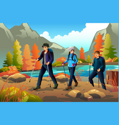Young people going hiking outdoors vector