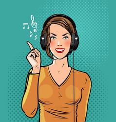beautiful girl in headphones listening to music vector image