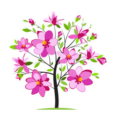 blooming colorful tree vector image vector image