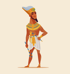 happy smiling young egyptian pharaoh vector image vector image