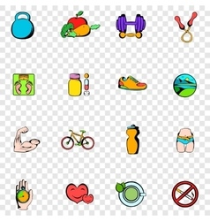 Healthy lifestyle set icons vector image vector image