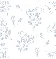 Outline flowers seamless pattern vector image vector image