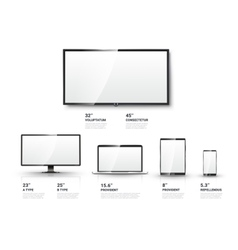 Realistic TV screen Lcd monitor laptop tablet vector image