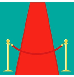 Red carpet rope barrier golden stanchions vector