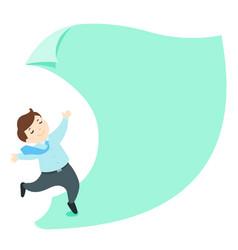 happy businessman on empty paper cartoon vector image vector image