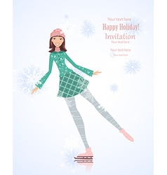Invitation card with cute girl skating on ice for vector image
