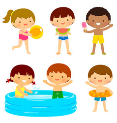 kids at the beach or the pool vector image vector image