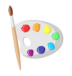 paintbrush and palette of paints vector image vector image
