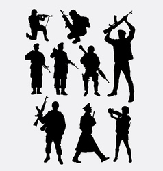 Army military soldier and police silhouette vector image