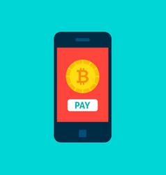 bitcoin mobile pay concept vector image