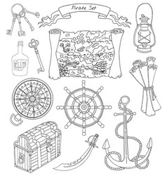 Black and white set with pirate theme objects vector