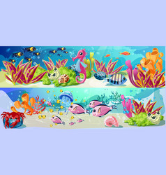 cartoon marine underwater life horizontal banners vector image vector image