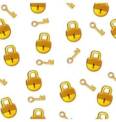Cartoon seamless pattern gold Lock padlock and key vector image vector image
