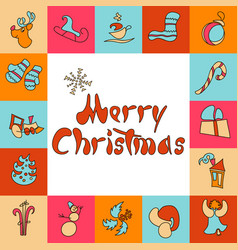 christmas greeting card a set of images for xmas vector image vector image