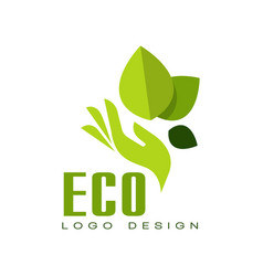 eco logo design healthy organic food label vector image