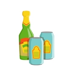 Glass bottle and two tin cans with lager beer vector