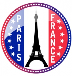 Paris and Eiffel tower button vector image vector image