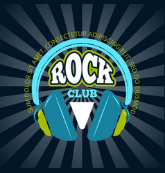 rock music club music logo badge emblem vector image vector image