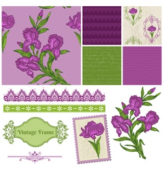 Scrapbook Design Elements - Iris Flowers vector image