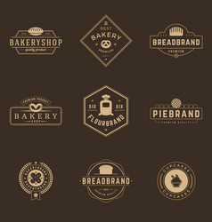 bakery shop logos templates set object and vector image vector image