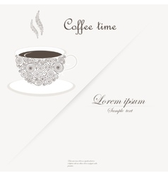 Cup of coffee with curly design elements vector