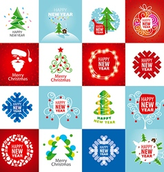 large set of logos for the new year vector image