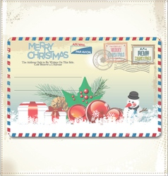 Old Christmas post card vector image