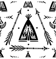 pattern with tee pee wigwam and arrows vector image