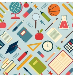 School tools and supplies on a blue background vector image vector image