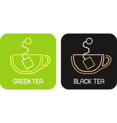 tea of green tea and tea of black tea - isolated i vector image vector image