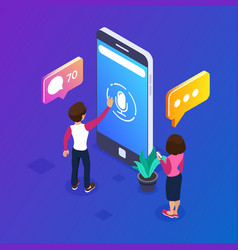 3d isometric voice message concept use your phone vector image