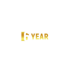 6 year happy birthday gold logo on white vector image