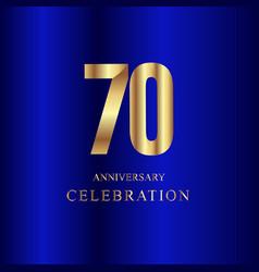 70 year anniversary celebration gold blue vector