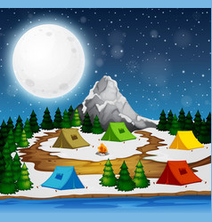 A campsite at night vector