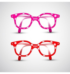 Abstract Funny Red Pink Glasses with Dots vector image