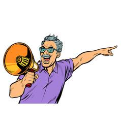 An elderly man with a megaphone vector