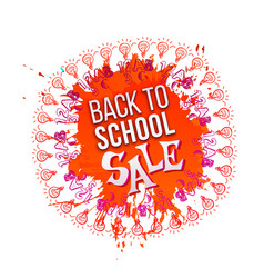 Back to school sale on orange splash vector
