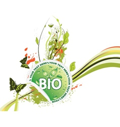 bio sticker with floral vector image