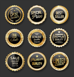 black and gold badges super sale collection 04 vector image