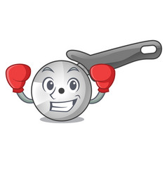 Boxing pizza cutter knife cartoon for cutting vector