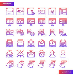 Browser and interface gradient icons set vector